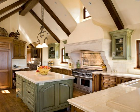 A little sage green in a French country-inspired kitchen. Credit: www.myloveofstyle.com