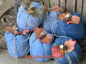 "Cyndee's ""Denim Country Pumpkins"" from her site www.restyledjunk.com"