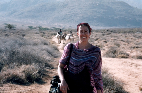 Karen on one of her many adventures -- this time in northern Kenya.