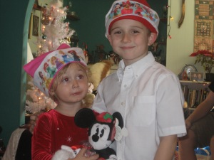 Linda's grandchildren, ages four and six, at her house for Christmas.